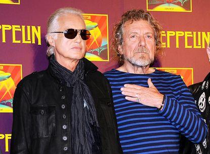 Jimmy Page y Robert Plant en la presentación de Celebration Day